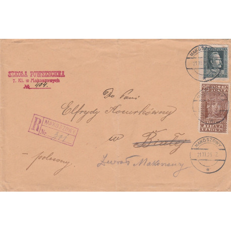 Poland - register cover from Makoszowy, 1929
